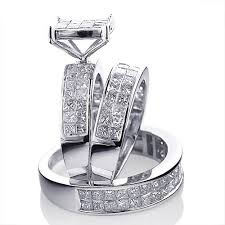 trio wedding sets 14k gold matching trio wedding ring set princess cut diamonds