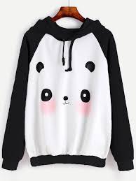cartoon panda print raglan hoodie shein sheinside