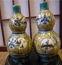 Japanese Kutani Vases Japanese Edo Period Matsuyama Gama Aode Kutani Double Gourds 松山