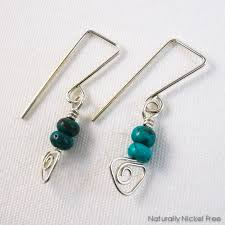 jewelry for sensitive skin turquoise sterling silver wirework dangle earrings by naturally