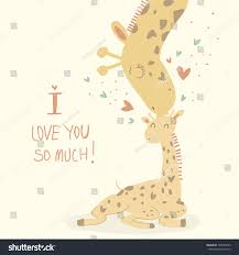 s day giraffe card giraffes mothers day stock vector 148785650