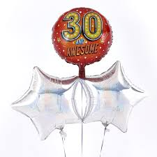 30th birthday balloon delivery 30th birthday 30 and awesome silver balloon bouquet inflated