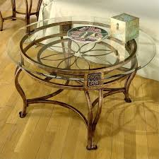 glass top cocktail table hillsdale scottsdale round glass top coffee table in brown rust