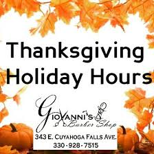 hours thanksgiving week monday s barber