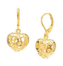 leverback earrings hollow filigree heart drop brass earrings