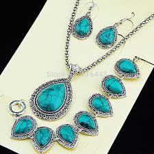 silver earrings bracelet set images 2018 2015 new hot sale antique silver water drop turquoise jpg