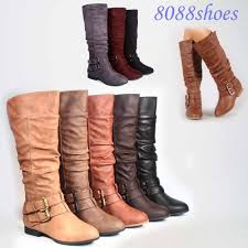 s boots knee high brown s fashion low flat heel mid calf knee high boot shoes