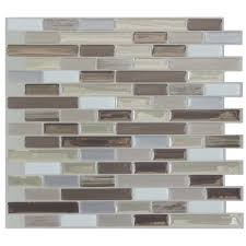 Brown Gray Metal Slate Backsplash by Peel And Stick Backsplash Tile You U0027ll Love