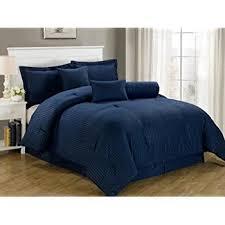 Navy Blue Bedding Set Chezmoi Collection 7 Hotel Dobby Stripe