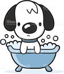 Dogs In The Bathtub Cartoon Dog Takes A Bath In The Bathtub Stock Vector Art 165763683