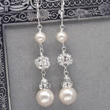 pearl dangle earrings pearl and rhinestone dangle earrings bridal wedding