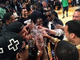drake diddy kevin hart drink cîroc on the court at 2014 nba all