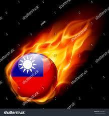 Flag Burning Legal Flag Taiwan Round Glossy Icon Burning Stock Vector 343870001