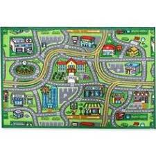 Kid Play Rug Homemusthaves Green Multi Color City Streets Roads Driving