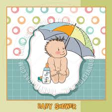baby boy shower card with funny baby under umbrella by claudia