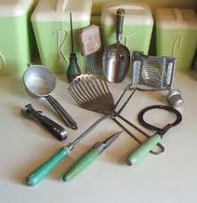 vintage kitchen collectibles vintage lot of 6 green handle kitchen utensils kitchen utensils