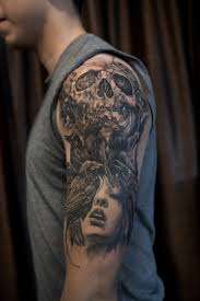 skull crows tattoos for half sleeve in 2017 photo pictures