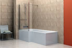 white painted wall panel with glass partition shower room also cream corner bathtub and glass shower