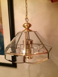 Gold Glass Chandelier Vintage Brass Beveled Glass Gold Dome Octagon Dining 6 Arm Candle