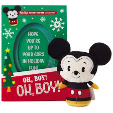 itty bittys mickey mouse christmas card with stuffed animal