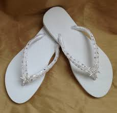 wedding flip flops bridal flip flops in white with tropical starfish