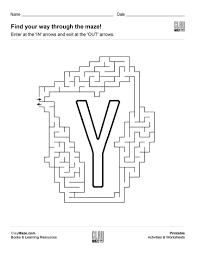 alphabet maze worksheet u2013 the letter y free children u0027s