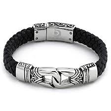 mens bracelet black leather images Antique braided black leather men 39 s bracelet stainless jpg