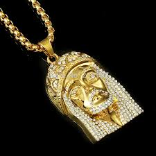 hip hop jewelry necklace images Fashion gold filled crystal jesus piece pendant necklace for men jpg