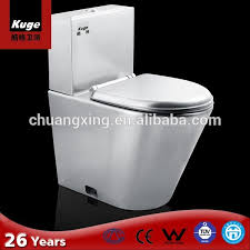 stainless steel siphon wc toilet bowl with cistern and pvc lid