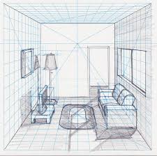 Interior House Drawing One Point Perspective Living Room Drawing Aecagra Org