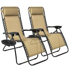 Patio Chair Set Of 2 best choiceproducts zero gravity chairs tan lounge patio chairs