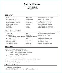 resume outlines exles acting resume template acting resume templates free sles