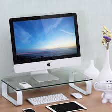 Computer Desk Tv Stand by Fitueyes 23 6x11x4 7 Inch Clear Tempered Glass Computer Monitor