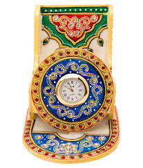 home decor multicolour marble mobile stand with clock buy home