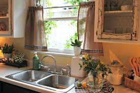 opulent cottage burlap and gingham kitchen