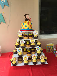 curious george birthday party ideas curious george cake and cupcakes with toppers curious george