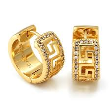 mens gold earrings 14k gold silver cz key hoop earrings men s earrings king