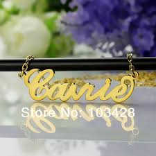 Customized Name Necklace Aliexpress Com Buy Personalized Name Necklace Gold Color Over