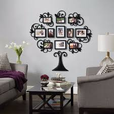 12 piece family tree photo picture frame collage set black wall