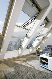 innovative large roof window in which the open sashes create a