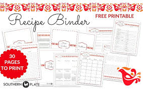 free printable recipe pages free printable menu planner sheet southern plate