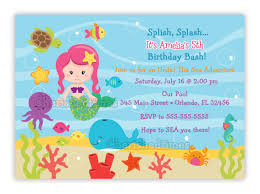 mermaid under the sea birthday party invitations 5 yr old bday