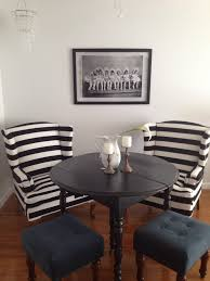 Black And White Striped Dining Chair Black And White Stripe Wing Back Chairs The Glamorous Project