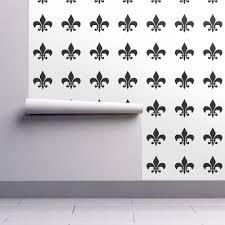 Fleur De Lis Wall Stickers Black White Fleur De Lis Wallpaper Charlottewinter Spoonflower