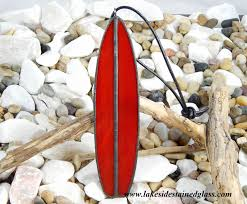 glass surfboard ornament lakeside stained glass