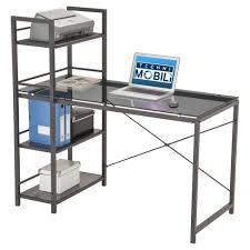 techni mobili black glass corner desk modern black tempered glass top computer workstation with shelves