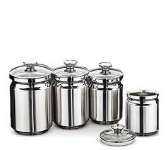 kitchen canister sets stainless steel tramontina 4 stainless steel canister set page 1 qvc