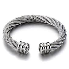 bangle bracelet mens images Large elastic adjustable steel twisted cable cuff jpg