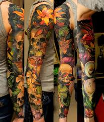 many flowers and many skulls tattoo sleeve best tattoo ideas gallery