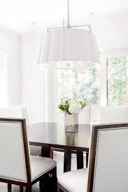 Dining Room Drum Pendant Lighting White Scalloped Drum Pendant Light With Brown Rectangular Dining